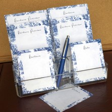 Navy Toile Memo Pad Set & Acrylic Holder