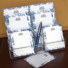 Navy Toile Memo Pad Set & Acrylic Holder - with Monogram