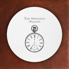 Prentiss Letterpress Coasters- Clock Design