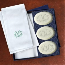 Soap and Guest Towel Set - Oval Soaps - Monogram