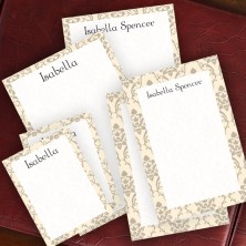 Taupe Damask Memo Pad Set