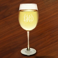 White Wine Glass Set - with Monogram