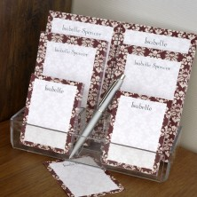 Wine Damask Memo Pad Set & Acrylic Holder