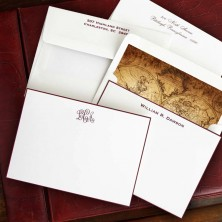 Worldly Wine Hand Bordered Correspondence Cards