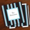 Merrimade Designer Paper Coasters w/Holder - Black Bold Stripe