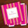 Merrimade Designer Paper Coasters w/Holder - Pink Bold Stripe