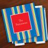 Merrimade Designer Paper Coasters w/Holder - Navy Bold Stripe