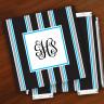Merrimade Designer Paper Coasters w/Holder - with Monogram - Black Bold Stripe