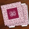 Merrimade Designer Paper Coasters w/Holder - with Monogram - Wine Floral