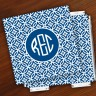 Merrimade Designer Paper Coasters w/Holder - with Monogram - Navy Circles