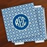 Merrimade Designer Paper Coasters w/Holder - with Monogram - Navy Circles