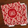 Merrimade Designer Paper Coasters w/Holder - with Monogram - Wine Damask