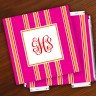 Merrimade Designer Paper Coasters w/Holder - with Monogram - Pink Bold Stripe
