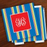 Merrimade Designer Paper Coasters w/Holder - with Monogram - Navy Bold Stripe