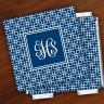 Merrimade Designer Paper Coasters w/Holder - with Monogram - Navy Keystone