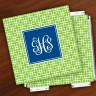 Merrimade Designer Paper Coasters w/Holder - with Monogram - Lime Keystone