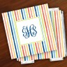 Merrimade Designer Paper Coasters w/Holder - with Monogram - Beach Stripes