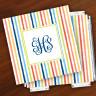 Merrimade Designer Paper Coasters w/Holder - with Monogram - Beach Stripes