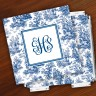 Merrimade Designer Paper Coasters w/Holder - with Monogram - Navy Toile