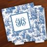 Merrimade Designer Paper Coasters w/Holder - with Monogram - Navy Toile