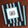 Merrimade Designer Paper Coasters - with Monogram - Black Bold Stripe