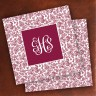 Merrimade Designer Paper Coasters - with Monogram - Wine Floral