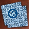 Merrimade Designer Paper Coasters - with Monogram - Navy Circles