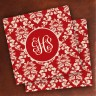 Merrimade Designer Paper Coasters - with Monogram - Wine Damask
