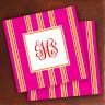 Merrimade Designer Paper Coasters - with Monogram - Pink Bold Stripe