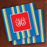 Merrimade Designer Paper Coasters - with Monogram - Navy Bold Stripe