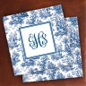 Merrimade Designer Paper Coasters - with Monogram - Navy Toile