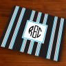 Merrimade Designer Paper Placemats - with Monogram - Black Bold Stripe