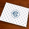 Merrimade Designer Paper Placemats - with Monogram - Stitched Anchors