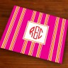 Merrimade Designer Paper Placemats - with Monogram - Pink Bold Stripe