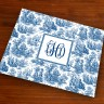 Merrimade Designer Paper Placemats - with Monogram - Navy Toile