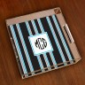 Merrimade Small Serving Tray - with Monogram - Black Bold Stirpe