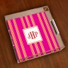 Merrimade Small Serving Tray - with Monogram - Pink Bold Stripe