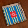 Merrimade Small Serving Tray - with Monogram - Navy Bold Stripe
