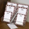 Wine Damask Memo Pad Set & Acrylic Holder - with Monogram
